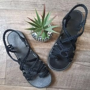 Shoes - BLACK BRAIDED SANDALS